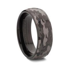 SPYDER Round Black Tungsten Carbide Camo Wedding Rings    http://www.tungstenworld.com/Round-Black-Tungsten-Carbide-Camo-Wedding-Rings/