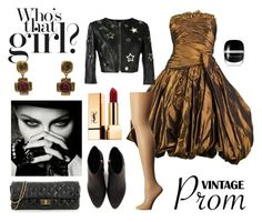 """""""80s Black & Gold Prom Outfit"""" by aquiris ❤ liked on Polyvore featuring Yves Saint Laurent, Chanel, Alexander Wang, Jean-Louis Scherrer, Philipp Plein, Wolford, Marc Jacobs and Jacky de G"""