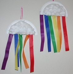 Paper plate clouds/rainbows