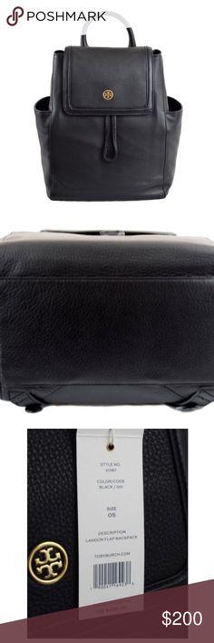 "Landon flap backpack Pebbled Leather Landon Flap Pack - Backpack 14""L x 12""H x 7.5""W Tory Burch Bags Backpacks"