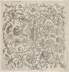 Square Panel with Vegetal Scrollwork, Flowers and Fruits Bernhard Zan (German, active 1580–81) Date: 1581