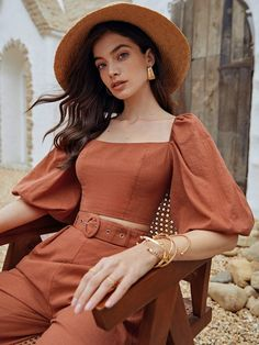 Jumpsuits For Girls, Two Piece Outfit, Fashion Sewing, Pretty Dresses, Blouse Designs, Fashion Outfits, Crop Tops, Clothes, Women