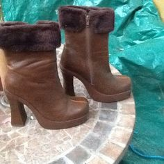 FASHION BROWN PLATFORM HIGH CHUNKY HEEL HIGH ANKLE FUR EMBELLISHED  BOOTS SZ 7 #Stone #FashionHighAnkle