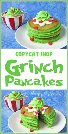 You can make your own Copycat IHOP® Grinch Pancakes at home. Your kids will love waking up to a stack of fluffy green pancakes topped with cream cheese icing, green whipped cream, and red candy hearts for Christmas breakfast.Recipe at HungryHappenings.com. #grinch #thegrinch #grinchpancakes #greenpancakes #ihopgrinchpancakes