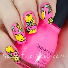 Pink nails with pop art lemons. Pop Art Nails, Nail Pops, Cute Nail Art, Nail Art Diy, Love Nails, Diy Nails, Pretty Nails, Lemon Nails, Nails Only
