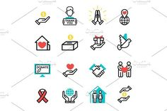 Donate money set outline icons help icon donation contribution charity philanthropy symbols humanity support vector. Human Icons