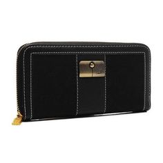 Look Here! Coach Kristin Lock In Signature Large Black Wallets ETG Outlet Online