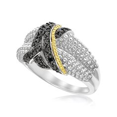 Stunning .14ct black diamonds adorn the intertwined band themed head of this popcorn style ring. Crafted in superb 18K yellow gold and sterling silver with rhod