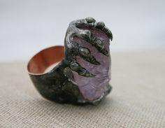 amethyst ring light purple ring raw ring by Blacksmithworkshop #fantasy #gothic #jewelry #ring #etsy
