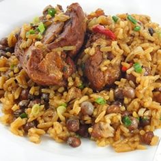 A one-pot Caribbean Rice and Brown stewed chicken dish...made this tonight for dinner.... Mom gotta do what a mom's gotta do!
