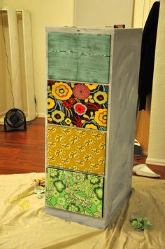 Fabric covered DiY filing cabinet Fleuriste Supplies