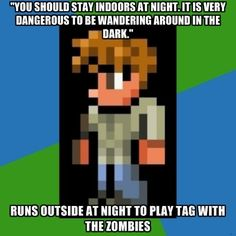 """This is why we hate the Guide. For some reason my guide is named after my best friend so when he is being attacked I'm like """"NOOO MY NAKAMA! Video Game Logic, Video Games, Terraria Memes, Haha So True, Some Games, Funny Clips, Funny Games, Terrarium, Nerdy"""
