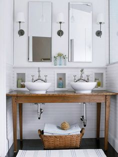 Molly Frey Design in Better Homes and Gardens.  Antique wood table vanity.