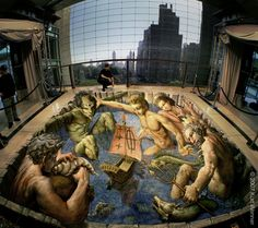 relaxing with the Gods. 3D street art.  000