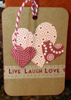 Bev's handmade gift tag using Washi Tape and Cuttlebug hearts!