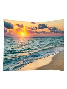 Sunset Clouds Beach Print Wall Hanging Tapestry - MANDARIN W59 INCH * L51 INCH