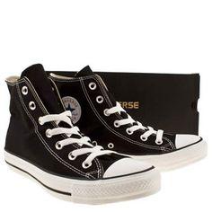 womens converse black & white all star hi trainers