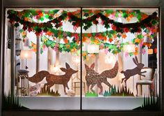 Rhapsody and Thread: Look At This - Liberty of London Corner Store Display - Liberty Foxes Unite! Christmas Window Display Retail, Christmas Window Decorations, Store Window Displays, Retail Displays, Merchandising Displays, Look Dark, Window Display Design, Visual Display, Pop Up Shops