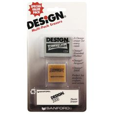 Design® Multi Pack Erasers- Kneaded, Art Gum & Plastic