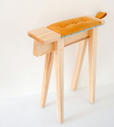 Eyore Stool is a minimalist design created by Israel-based designer Vered Venezia. The Eyore stool is inspired by the trestles used in uphol. Dining Room Chair Cushions, Small Living Room Chairs, Balcony Table And Chairs, Restaurant Tables And Chairs, Cushions On Sofa, Side Chairs, Minimalist Kids, Minimalist Design, Kids Furniture
