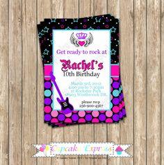 DIY Rockstar Girl Birthday  PRINTABLE Invitation 1 Party pink black purple teal guitar rock star