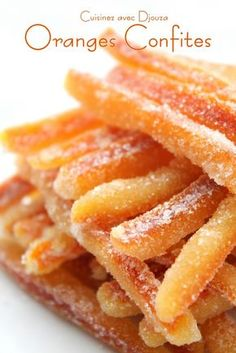 Make candied oranges or orangettes . - Make candied oranges very easily - Candy Recipes, Sweet Recipes, Köstliche Desserts, Dessert Recipes, Orange Confit, Sweets Cake, Orange Recipes, Healthy Meal Prep, Food And Drink