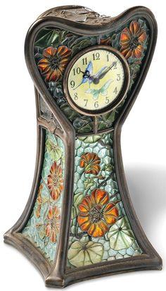 Art Nouveau Plique-a-Jour Enamel Table Clock, Eugene Feuillatre, France, the yellow enamel dial with green Arabic numeral indicators and two butt Jugendstil Design, Art Nouveau Furniture, Cool Clocks, Antique Clocks, Vintage Clocks, Art Nouveau Design, Arts And Crafts Movement, New Art, Vintage Antiques
