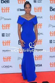 #ReginaKing Royal Blue Evening Formal #Dress 2018 Toronto International Film Festival - #CelebrityDresses