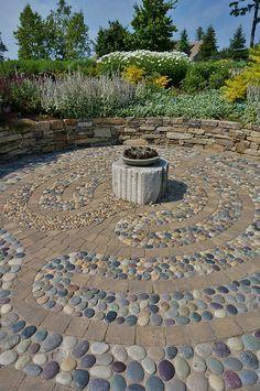 Pebble Labyrinth walkway featuring fire at center. Garden Yard Ideas, Garden Paths, Garden Projects, Garden Art, Garden Design, Prayer Garden, Meditation Garden, Labyrinth Walk, Jardin Decor