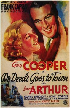 """""""Mr. DEEDS GOES TO TOWN"""" (1936) Starring: Gary Cooper, Jean Arthur and George Bancroft"""