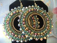 Beaded Hoop Earrings RAIN GODDESS Seed Bead Hoop by WorkofHeart, $36.00
