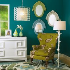 Accent wall color - Dark teal walls accented by lime green and white. LOVE this color scheme Design Living Room, My Living Room, Living Spaces, Bedroom Designs, Teal Walls, Turquoise Walls, Teal Rooms, Teal Dining Rooms, Green Turquoise