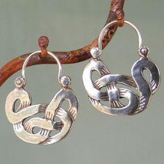 Celtic Knot Earrings - tribal - silver hoop earrings by BobsWhiskers on Etsy Silver Hoops, Sterling Silver Necklaces, Sterling Silver Earrings, Silver Rings, Silver Bracelets, 925 Silver, Metal Jewelry, Jewelry Art, Gold Jewellery