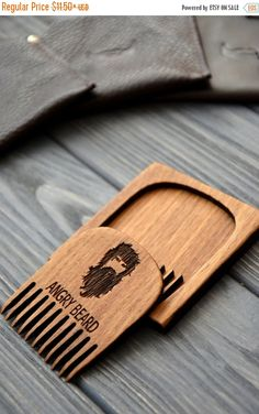 ON SALE Beard comb. Personalized custom engraved wooden comb. For men, for him. Angry beard. Beard comb, moustache comb, hair comb