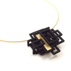 3D Printed Pendant- 3D Print Jewelry Small Squared Pendant | Melissa Borrell Design