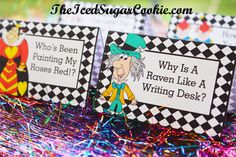 Alice In Wonderland Birthday Party Food Label Tent Cards