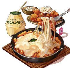 Cute Food Art, Cute Food Drawings, Food Sketch, Watercolor Food, Watercolor Paintings, Japon Illustration, Food Painting, Korean Food, Korean Beef