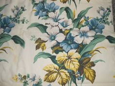 Vintage Country  Farmhouse Floral Flower Bark cloth Fabric Drape Panel Curtain 45 x 89 by auctionsaletreasures on Etsy