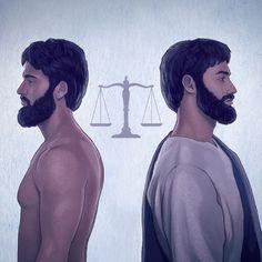 La balanza de la justicia equilibrada; a un lado está Adán y al otro Jesús