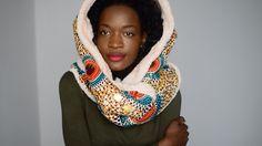 Ankara fleecy hooded scarf