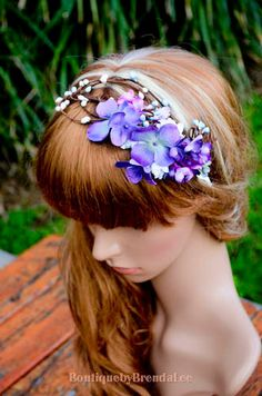 BBBL Purple mini flowers and blue pip berries suede head tie/crown earthy woodland halo/whimsical floral circlet/wedding/boho/wrap/girl on Etsy, $53.39