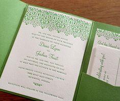 Elegant lace inspired wedding invitation set in spring green ink with matching pocket folder.    Invitations by Ajalon   invitationsbyajalon.com
