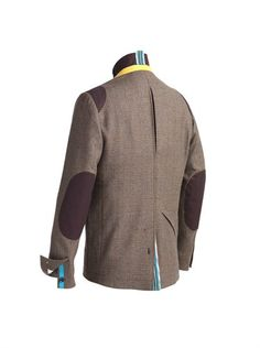 back venting, bright petersham binding, button cuff, storm collar, sleeve pocket and lanyard Tweed Jacket, Bomber Jacket, Brooks England, Rain Cape, Bike Wear, Mens Winter Coat, Cycling Jerseys, Cycling Outfit, British Style