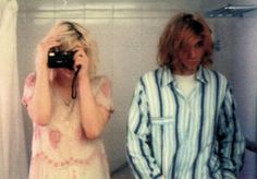 A bathroom selfie of Courtney and Kurt, 1992