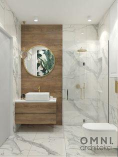 Łazienka wykończona płytkami imitującymi marmur, z dodatkiem drewna i złota Modern Luxury Bathroom, Small Bathroom Interior, Bathroom Design Luxury, Modern Bathroom Design, Home Room Design, Home Interior Design, Bathroom Remodel Pictures, Washroom Design, Best Bathroom Designs