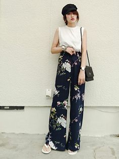 daily style from WEAR japan page Japanese Fashion, Korean Fashion, Summer Outfits, Casual Outfits, Wide Pants, Daily Style, My Style, Asian Style, Flower Dresses