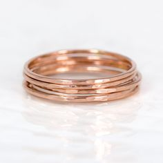 Pretty Little Rose Gold Band // Hammered by MelanieCaseyJewelry