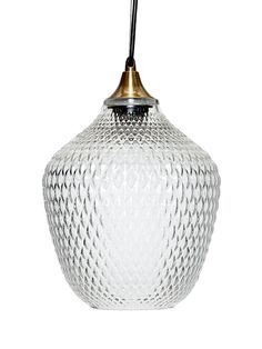 Embossed Glass Pendant - Clear