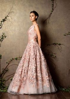 Wedding Cocktail Gowns - Light Pink Gown | WedMeGood This Sleeveless Pastel Pink Gown with Floral Patches is the Perfect Fairytale Gown for any Cocktail! #wedmegood #gown #cocktail