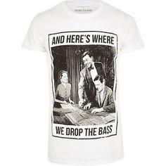 White drop the bass print t-shirt #riverisland #rimenswear